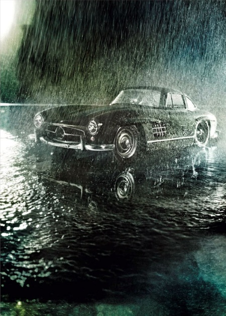 Mercedes SL bajo la lluvia - Foto: www.pinterest.com