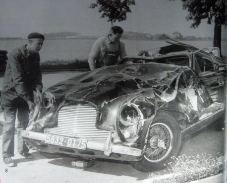 El Aston Martin de Françoise Sagan, tras el accidente - Foto: www.forum-auto.com